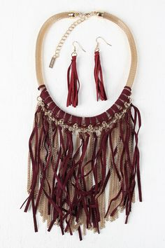 Chain And Suede Fringe Mesh Tube Necklace - Burgundy  Description A statement  fringe  front. Finished with an adjustable lobster...   https://nemb.ly/p/VJBm3ZZH6g