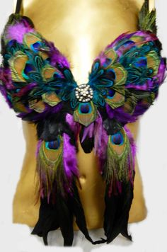 Tribal Peacock Feather Belly Dance BRA Xena by sajeeladesign, $129.95
