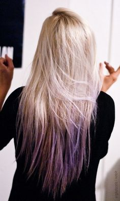 THIS is absolutely perfect. If I could get a lighter blonde to dye the upper part of my hair along with the lavender, I could totally do this!