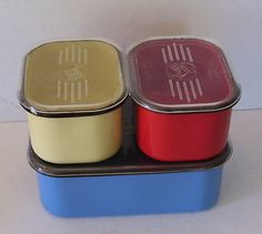 Beco Ware Refrigerator Dishes, Red,, Blue, Yellow Enamel over Metal with Plastic Tops Vintage Kitchen, Retro Vintage, Vintage Refrigerator, Vintage Enamelware, Dinette Sets, Red And Blue, Blue Yellow, Dishes, 3 Piece