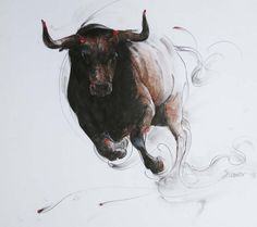 bull charging art | Copyright 1989-2009 Crimson Art Gallery