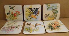 6 Assorted Hummingbirds Coasters John Gould CloverLeaf  1987 Met Museum of Art #CloverLeaf