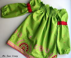 Shirred country dress, love the Michael Miller Gypsy bandanna border fabric she used. #diy