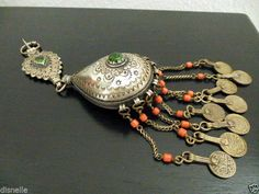 Fibule Argent Massif ET Corail Bijou Berbere Ancien Maroc Ethnique  Orientaliste   eBay ba9977800fb