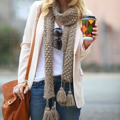 Casual winter outfit with light brown scarf and neutral cardy
