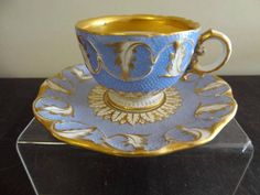ROYAL VIENNA PORCELAIN CUP & SAUCER IMPRESSED MARK WITH BINDENSCHILD  C1841 (ebayer: suemoki)