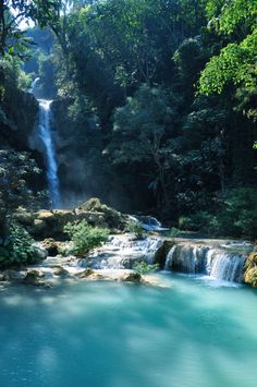 bluepueblo: Upper Falls, Tat Kuang Si, Laos  photo via grmng
