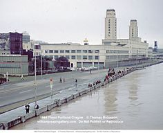 Willamette River 1964 2 Portland Oregon USA.  I remember when the old Journal Building was there long before the waterfront park!