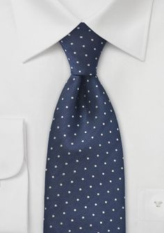 Navy Blue Silver Polka Dot Tie - Love this on Men, so classic!