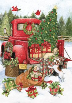 Christmas Eve, the field of possibilities is still wide. At the same time as decorating your tree, it is necessary to think of the other symbolic place of this holiday: the Christmas table! Christmas Red Truck, Cowboy Christmas, Christmas Art, Christmas Decorations, Christmas Journal, Christmas Animals, Country Christmas, Homemade Christmas, Christmas Ideas