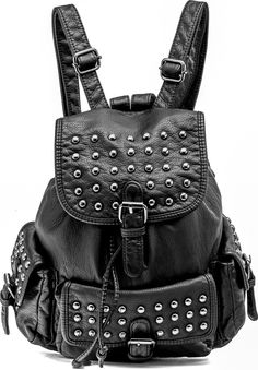 Black leather-look flap backpack with studs