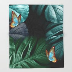 Butterflies in Tropical Paradise Throw Blanket by justkidding #ThrowBlanket #graphicdesign #butterflies #green #bluegreen #black