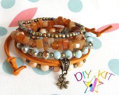 Boho Stack Bracelet kit, DIY Gipsy Bohemian Layering Bracelets, Set of 4 stacking bracelets to make & wear, DIY jewellery kit by TheJazzyJewelzStudio on Etsy