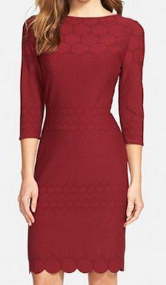 Red scallop hem shift dress