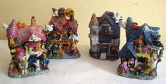MINI HALLOWEEN HAUNTED VILLAGE 4 Lighted Houses Station Schoolhouse Ghosts