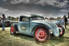 Many builders turn the VW into a Volksrod truck. Vw Rat Rod, Volkswagen, Vw Pickup, Triumph Bobber, Vw Beetles, Cool Cars, Super Cars, Cool Photos, Classic Cars