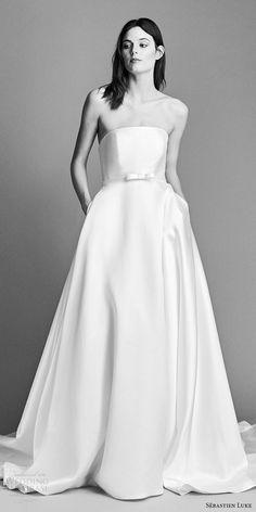 sebastien luke spring 2018 bridal strapless a line wedding dress (18b21) mv cathedral train modern -- Sébastien Luke Spring 2018 Wedding Dresses