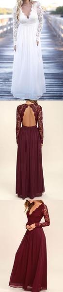 Fall Long Lace Sleeve Open Black Chiffon Long A-line Wedding Party Bridesmaid Dresses,PB1008