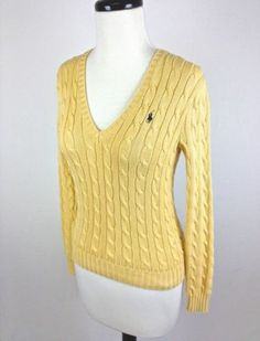 Ralph Lauren Sweater Cotton V Neck Yellow Long Sleeve Cable Knit Womens Sport XS | eBay
