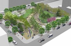 In this rendering of Willoughby Square, the underground parking garage entrance is on the far right of the park.