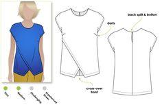 Sewing Top STYLE ARC - Fern Woven Top t. 10 - 12 PDF // * 150 x 150 cm de crêpe/jersey/soie * 20 cm de thermocollant * un petit bouton ou crochet - Great, slip-on asymmetrical woven top Pdf Sewing Patterns, Clothing Patterns, Dress Patterns, Make Your Own Clothes, Diy Clothes, Ladies Clothes, Sewing Blouses, Add Sleeves, Mode Inspiration