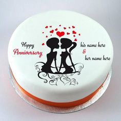 lovely couple wedding anniversary cake with name - Modernes Happy Marriage Anniversary Quotes, Anniversary Wishes For Couple, Happy Wedding Anniversary Wishes, Happy Anniversary Cakes, Birthday Cake Write Name, Birthday Cake Writing, Cake Name, Happy Birthday Noor, Happy Birthday Cakes