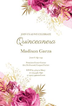 Pink and Gold Invitation Template Beautiful Vintage Pink and Gold Roses Quinceañera Invitation Pink And Gold Invitations, Vintage Invitations, Reunion Invitations, Printable Invitation Templates, Printables, Baby Shower Invitaciones, Gold Flowers, Quinceanera, Vintage Pink