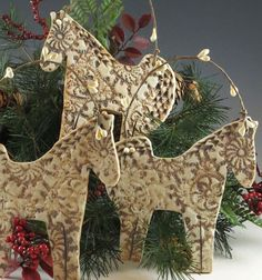 Horse Ornament Christmas Ornament Christmas by Botanic2Ceramic