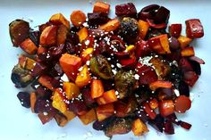 Gorgeous oven roasted vegetables made even tastier with the tang of balsamic vinegar, the sweetness of brown sugar, finished with the bite of feta cheese…. Roasted Vegetable Recipes, Roasted Vegetables, Veggie Recipes, Vegetarian Recipes, Healthy Recipes, Oven Vegetables, Grilled Veggies, Skinny Recipes, Greek Recipes