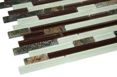 "Red Jungle Glossy Stone Glass Mosaic Tiles Sheet Size: 12 7/8"" x 11 3/4"" x 3/8"" Tile Size: Random Brick Type: Glass, Stone Finished: Glossy, Polished, Brushed HTCWG4"