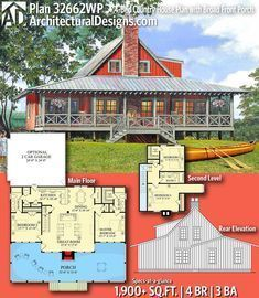 House plans - Plan Country House Plan with Broad Front Porch Lake House Plans, Cabin Floor Plans, New House Plans, Dream House Plans, Small House Plans, My Dream Home, Barn Home Plans, Rustic Home Plans, Family Home Plans
