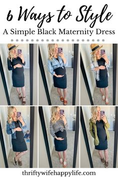 6 ways to style a simple black fitted maternity dress Maternity Capsule Wardrobe, Casual Maternity Outfits, Fitted Maternity Dress, Pregnancy Wardrobe, Stylish Maternity, Maternity Wear, Maternity Winter Dresses, Maternity Looks, Maternity Styles