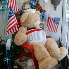 Norfolk Florist Mascot, Petals the Bear has a front row seat at our Downtown Norfolk Location at 211 Granby Street He must of been tired from strolling around for OpSail 2012 & Harborfest!