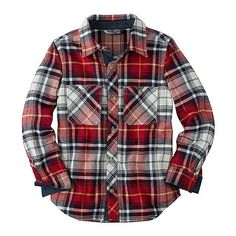 North Star Flannel Shirt found on Polyvore featuring tops, shirts, red plaid top, tartan plaid flannel shirt, pleated shirt, flannel shirts and tartan shirt