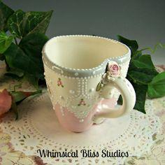 Whimsical Bliss Studios - Vintage Lace Heart Mug