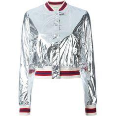 Isabel Marant Étoile 'Ferna' bomber jacket ($490) ❤ liked on Polyvore featuring outerwear, jackets, tops, grey, stripe jacket, metallic jacket, gray jacket, aztec jacket and bomber jacket