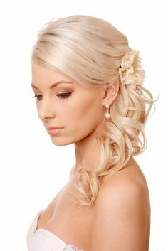 wedding hairstyle with side curls ans flowers hot sexy hairstyles