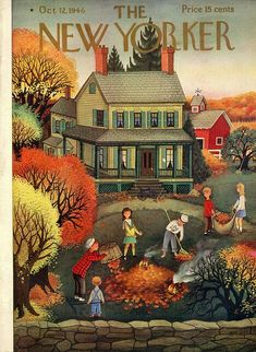 The New Yorker - October 1946 Cover art by Edna Eicke New Yorker Covers autumn The New Yorker, New Yorker Covers, Autumn Art, Autumn Leaves, Illustrations, Illustration Art, Journal Vintage, October Country, Inspiration Art