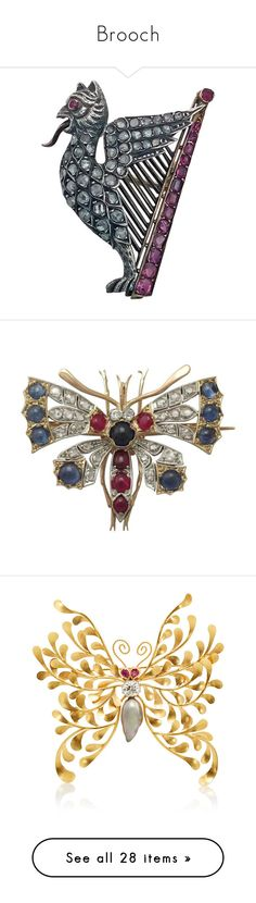 """""""Brooch"""" by taught-to-fly19 on Polyvore featuring jewelry, brooches, multiple, ruby jewelry, gold brooch, pearl brooch, diamond brooch, diamond jewellery, yellow e victorian brooch"""