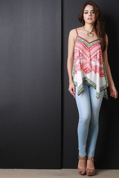 Shop Native American Inspired Tunic Top featuring a Native American inspired print detail, v-neckline, adjustable spaghetti straps, and asymmetrical hemline. Western Dresses, Western Outfits, Suit Fashion, Boho Fashion, Flight Outfit, Top Clothing Stores, Suits For Women, Clothes For Women, Casual Outfits