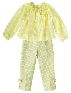 Fashionable set from La stupenderia. Hip, chic & elegant. With neon accents in embroidery and polka dots.