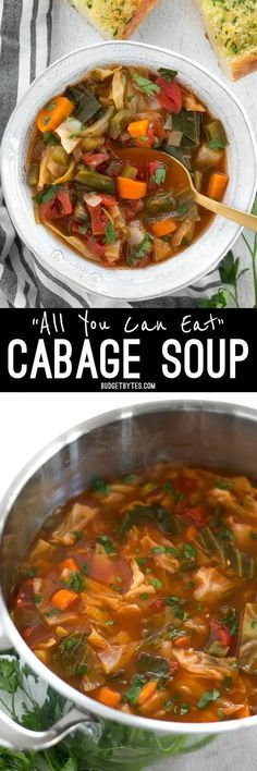 All You Can Eat Cabbage Soup is part of Vegetarian cabbage soup - Forget the cabbage soup diet, you'll want to eat this super healthy vegetarian cabbage soup just because it tastes incredible! Vegetarian Cabbage Soup, Cabbage Soup Diet, Vegetable Soup Cabbage, Vegetable Pasta, Stuffed Cabbage Soup, Skinny Vegetable Soup, Crockpot Cabbage Recipes, Cabbage Stew, Vegetable Ideas