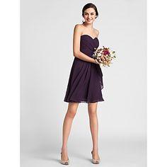 Sheath/Column Sweetheart Knee-length Chiffon Bridesmaid Dress – USD $ 79.99