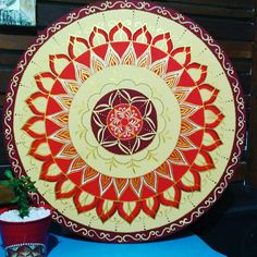 Mandala decorativa para o signo de Áries by Cida Sales Arte Designer. 50cm.
