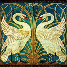 Walter Crane Swans Coloured Tile