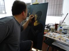 "#TBT Inside the Studio - #Artwork in Progress. ""Light Night"" painting. Dentro del Studio - #Arte en Proceso. #Pintura ""Luz Nocturna"""