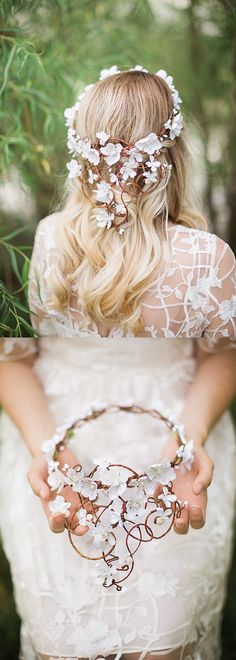 A crown of cascading, flowering vines and white blossoms, with tiny pearls in the stamens. An exquisite statement headpiece for your big day. A piece of artwork for your hair! These vines look best against hair of medium to long length. Wedding Ideas, winter wedding, country theme, rustic wedding. Handmade in studio. #bridal #hairvine #flowers #rusticwedding #winterwedding #bride #fallwedding #affiliatelink #handmade #shopsmall