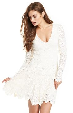 Nightcap Spanish Lace Deep V Fit & Flare Dress in Cream 2 - 3 | DAILYLOOK