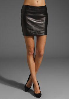 skirt, leather mini, black