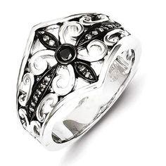 Sterling Silver White & Black Diamond Black Rhodium-Plated Ring